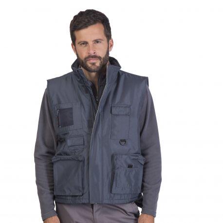 Bodywarmer multi-poches doublé polaire, 230 g/m²