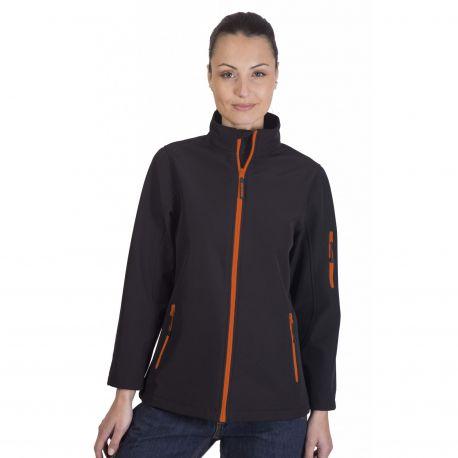 Veste soft-shell femme 3 couches, respirant et imperméable, 340 g/m²