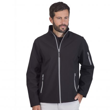 Veste soft-shell homme 3 couches Black & Match, respirant et imperméable