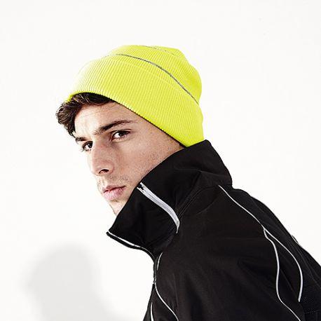 Bonnet acrylique avec rabat, bandes réfléchissantes, maille doublée