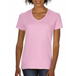 T-shirt femme col V 100% coton teint et lavé, 185 g/m²