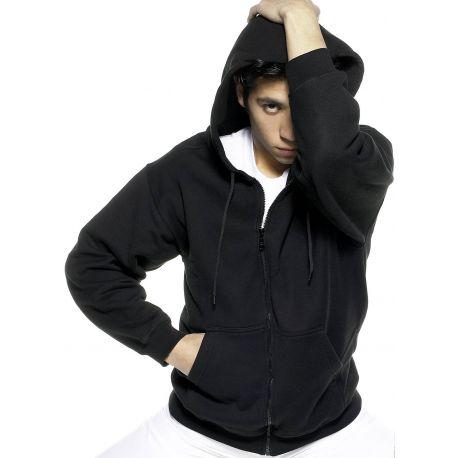 Sweat-shirt premium zippé à capuche, poches frontales, 300 g/m²