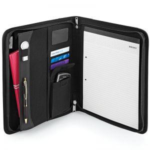 Organiser porte-documents à zip noir, avec bloc note A4