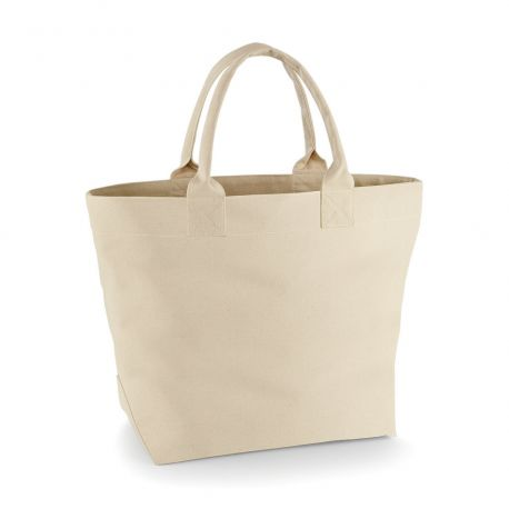 Sac solide en coton canvas, anses courtes, 475 g/m²
