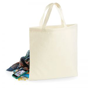 Tote bag, sac shopping coton écru naturel, anses courtes, 100 g/m²