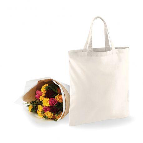 Tote bag coton vierge, anses courtes, 140 g/m²