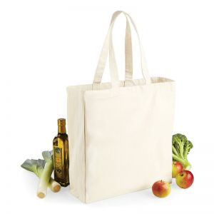 Sac shopping en coton canvas avec soufflet, 270 g/m²