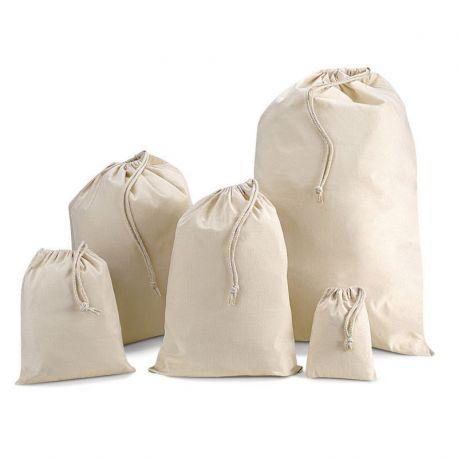 Petit sac de rangement en coton, fermeture par cordelette, 140 g/m²