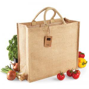 Très grand sac shopping en toile de jute, poignées en coton