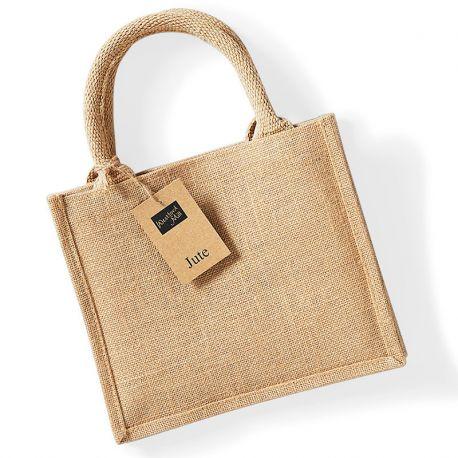 Petit sac en toile de jute, poignées en coton colorées