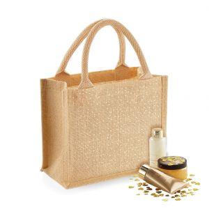 Petit tote bag en toile de jute brillant, anses courtes en coton