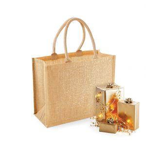 Tote bag en toile de jute brillant avec poignées en coton