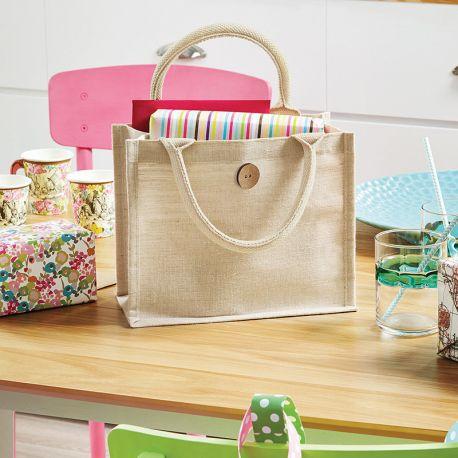 Petit sac shopping en juco laminé pour une décoration facile