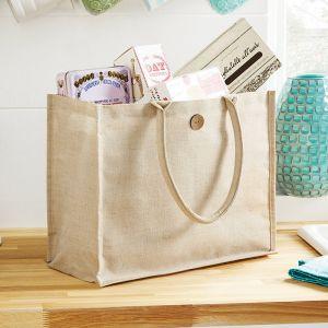 Grand sac shopping en juco laminé pour une décoration facile