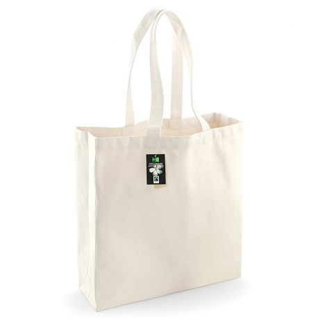 Grand sac shopping en coton canvas commerce équitable, 407 g/m²