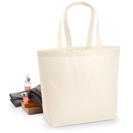 Sac shopping premium avec soufflet de qualité en coton, 200 g/m²