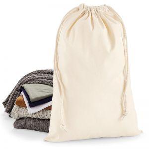 Petit sac de rangement en coton, fermeture à double cordon, 200 g/m²
