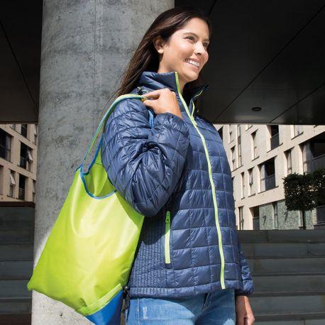 Sac de course en polyester portatif, repliable dans un petit sac