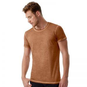 T-shirt homme effet denim teinté à froid, coton ring spun, 145 g/m²