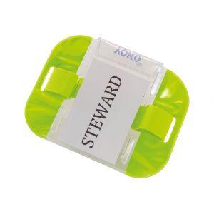 Brassard PVC avec ouverture pour étiquette, cordon de serrage