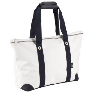 Grand sac shopping en polyester 600D blanc et bleu marine