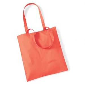 Tote bag, sac shopping coton orange corail