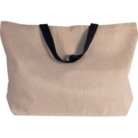 Très grand sac fourre-tout en juco, anses courtes, 280 g/m²