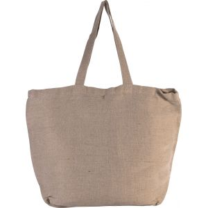 Grand sac shopping en juco uni, anses longues, 300 g/m²