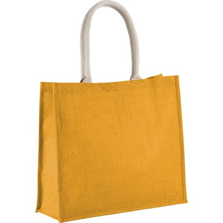 Grand sac shopping en toile de jute teinte, fermeture par scratch