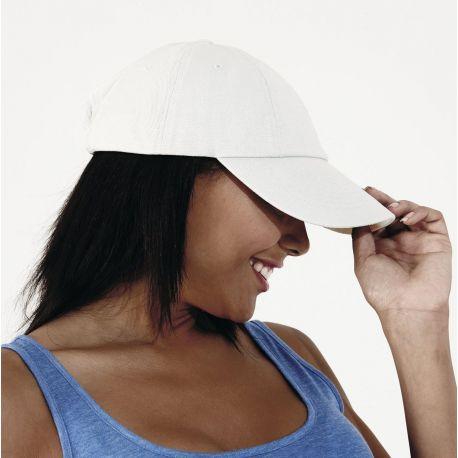 Casquette profil bas en coton drill, visière courte