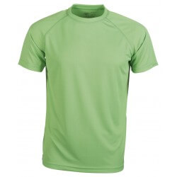 T-shirt sport respirant homme polyester col rond, manches courtes, 140 g/m²