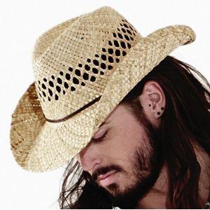 Chapeau de cowboy en paille naturelle