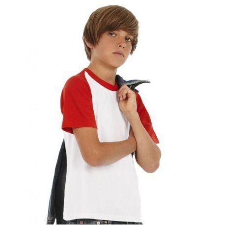 T-shirt baseball enfant bicolore, manches courtes, 185 g/m²