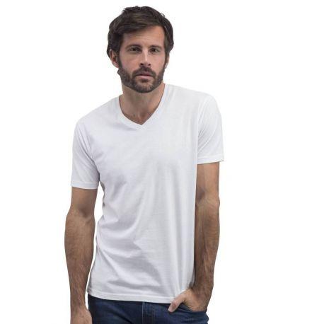 T-shirt sans étiquette, sans marque homme col V, 100% coton, 160 g/m²