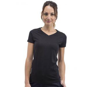 T-shirt sans étiquette, sans marque femme col V, 100% coton, 160 g/m²