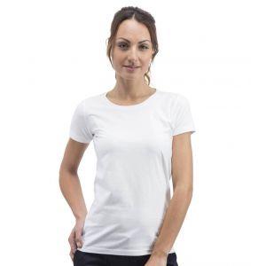 T-shirt sans étiquette, sans marque femme col rond, 100% coton, 160 g/m²