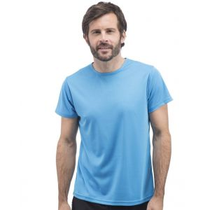 T-shirt respirant sans étiquette homme col rond en polyester, 130 g/m²