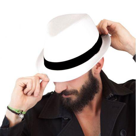 Chapeau en coton, bandeau noir en polyester