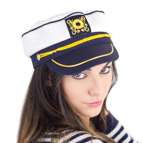 Casquette marine de capitaine pré-brodée