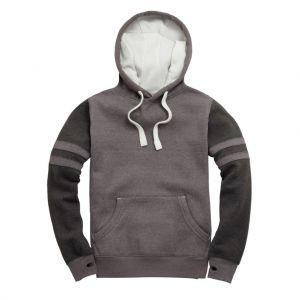 Sweat-shirt bicolore à capuche doublé, touché de pêche, 330 g/m²