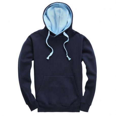 Sweat-shirt bicolore adulte touché doux avec capuche doublée, 310 g/m²
