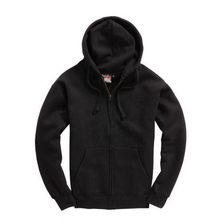 Sweat-shirt zippé épais, ton sur ton, avec capuche doublée, 310 g/m²