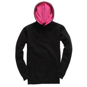 Sweat-shirt épais bicolore enfant, avec capuche doublée, 310 g/m²