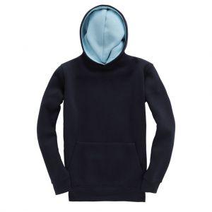 Sweat-shirt bicolore enfant touché doux avec capuche doublée, 310 g/m²
