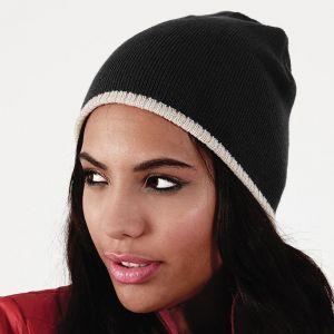 Bonnet bicolore tricoté en acrylique doux au toucher