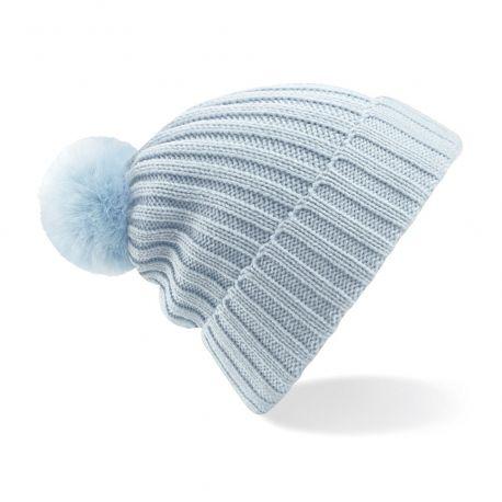 Bonnet en très beau tricot à mailles, pompon en fausse fourure