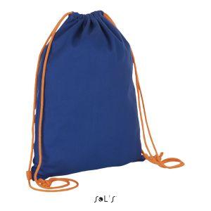 Sac à dos avec cordelettes contrastées, 100% coton canvas