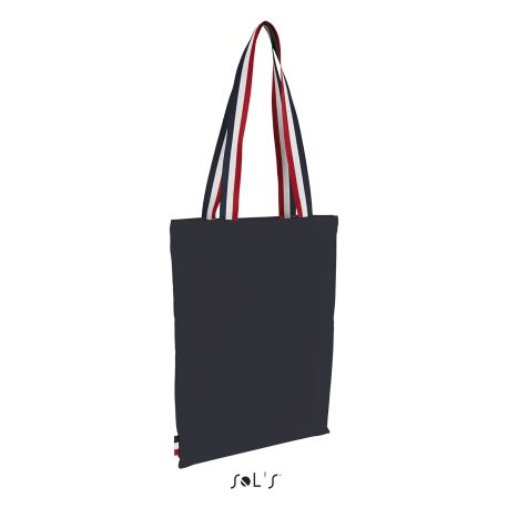 Tote bag avec anses tricolore, 100% coton canvas, 235 g/m²