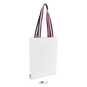 Tote bag avec anses tricolore, 100% coton canvas, 235 g/m²