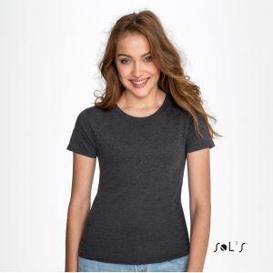 T-shirt femme col rond, coupe cintrée, 100% coton jersey, 150 g/m²